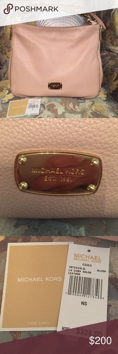 Beautiful Michael Kors Tote  Awesome, NWT, Michael Kors Essex Tote in Blush with Gold Hardware. It is in new condition with no major signs of wear. You can wear on your shoulder, or it comes with a longer cross body strap. Gold zipper detail on sides...very pretty! Perfect for summer! Will include care card and original receipt. Michael Kors Bags Shoulder Bags