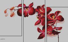 Tríptico orquídea. Punto de cruz.
