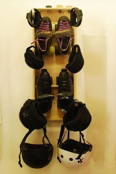 Roller Derby Gear Rack Mounts On The Wall To Hold And Dry Your Gear