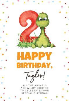 2nd Birthday Dinosaur - Happy Birthday Card #greetingcards #printable #diy #birthday