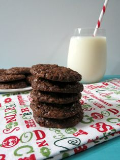 Christmas Chocolate Drops  - A sweet, light, rich chocolaty cookie made with Dove's Dark Chocolate and pecans.