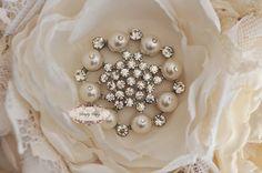 5pcs RD170 Pearl Rhinestone Crystal Metal Embellishment Flatback Brooch wedding bridal favor invitation bouquet flower jewelry brooches. $12.50, via Etsy.