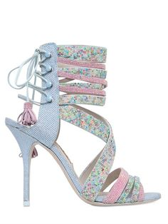 SOPHIA WEBSTER - 110MM ADELINE LACE-UP CRYSTAL SANDALS - LUISAVIAROMA - LUXURY SHOPPING WORLDWIDE SHIPPING - FLORENCE