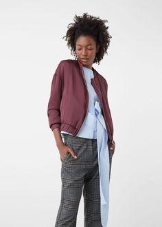 Satin bomber jacket - Jackets for Woman | MANGO USA