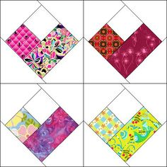 Scrappy Four Patch Heart Block Scrappy Quilt Patterns, Heart Quilt Pattern, Scrappy Quilts, Mini Quilts, Pattern Blocks, Patch Quilt, Quilt Blocks, Quilting Projects, Quilting Designs