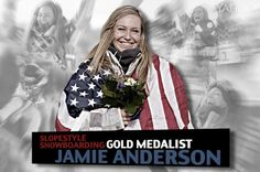 Jamie Anderson of Team USA - Women's slopestyle snowboarding gold medalist Jamie Anderson, Winter Olympics 2014, Go Usa, Snowboarding Women, Winter Games, Team Usa, Skateboards, Olympic Games, Surfboard