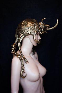 Queen headdress, fantasy helmet, inspired by Enchanted Doll work, worbla headpiece, fantasy costume, golden crown, insect queen, beetle headdress