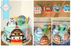 Robocar Poli cake and cupcakes. Along with Robovan Amber, Robotruck Roy, and Robocopter Helly.