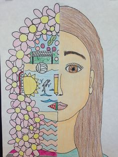 Split face self portrait High School Art, Middle School Art, Self Portrait Art, 8th Grade Art, Jr Art, Ecole Art, Art Lessons Elementary, Elementary Art Education, Expressive Art