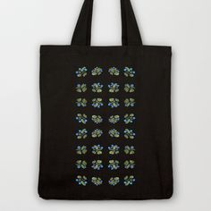 Atom Flowers #34 in blue and green Tote Bag by Marina Kanavaki - $18.00