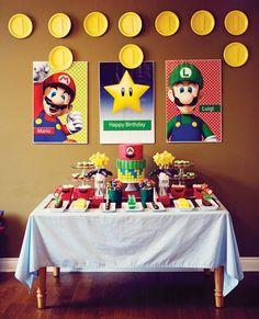 Decoración fiesta infantil, mesa dulce Mario Bros