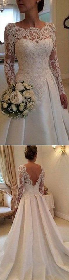 Long A-line Full Length Round Neck Long Sleeve Lace Top Satin Wedding – SofieBridal
