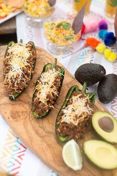 Easy cinco de mayo recipe for stuffed poblano peppers. This stuffed poblano peppers recipe is perfect for a cinco de mayo party or fiesta party. Hurried Hostess easy home entertaining. #cincodemayo #fiesta #recipeoftheday #easyrecipe