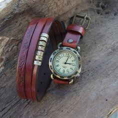 Women leather watch, Wrap around watch, Leather cuff watch for women, Bronze, Vintage Afghan Tribal Ethnic Beads