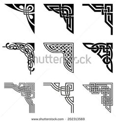 set of ornamental corners in celtic style - stock vector