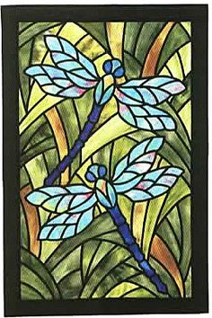 Dragonfly Garden Stained Glass Applique Quilt Pattern by Three Swans Studios Pattern