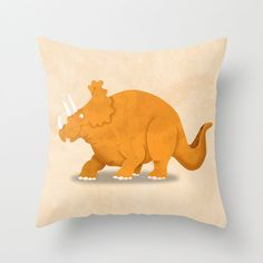 Dinosaur Triceratops Pillow Cover by krankykrab