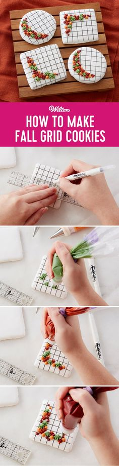 """How to Make Fall Grid Cookies - It's easy to make fall grid cookies! The grid pattern is easily drawn on the royal icing covered cookies using a Wilton FoodWriter edible color marker and a ruler. Add the seasonal-hued icing dots and stars piped in a flowing """"C"""" curve for trendy contrast. #diy #fallbaking #cookies #wiltoncakes"""