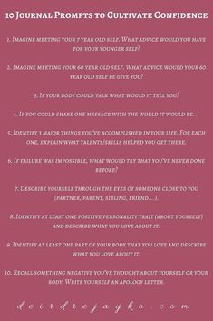 10 Journal Prompts to Cultivate Confidence - Deirdre Jayko - Tipps fürs leben # Climatechangeprotestsigns # Outdoorkitchenbars Journal Prompts For Teens, Journal Topics, Journal Writing Prompts, Journal Ideas, How To Journal, Writing Topics, Journal Art, Journal Entries, Therapy Journal
