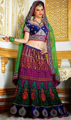 Blue and Purple Lehenga Choli - GOSH Fashions