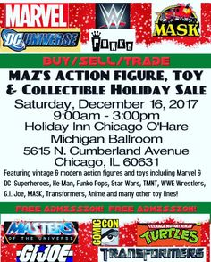 Mark your calendars for our Pop Up Holiday Toy Sale on December 16th!  Drop on by for hundreds of vintage and modern action figures and toys.  #mazholidaysale #toysale #chicago #toyshow #chicagotoyshow #toys #chicagotoystore #toystore #figures #toycollector #toyhunting #toyaddict #chicagotoyhunting #vintagetoys #chicagotoycollector #collectibles #chicagotoydealer #toydealer #wwe #marvel #dc #lego #transformers #starwars #gijoe #motu #tmnt #collectiblestore