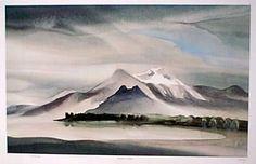 Toni Onley - Cheam Peak Watercolor Landscape, Landscape Paintings, Landscapes, Canadian Artists, Art Furniture, Artist Art, Canada, Sculpture, Mountains