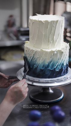 Painted textured buttercream wedding cake by Bijou's Sweet Treats wedding cake studio. Buttercream Cake Designs, Cake Decorating Frosting, Cake Decorating Designs, Buttercream Wedding Cake, Cake Decorating Techniques, Cake Decorating Tutorials, Special Birthday Cakes, Elegant Birthday Cakes, Cute Birthday Cakes