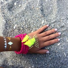 Bracelet de perles gland néon rose - bracelet de gland jaune néon 1 PIECE