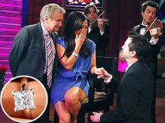 Carrie Ann Inaba Engaged to Jesse Sloan: Princess cut in a clean platinum mounting, 2½-carat, D-color, princess-cut diamond. Rafinity Jewelers set both his and Carrie Ann's (garnet and dianmond) birthstones hidden on the inside of the ring.