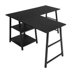 Shop Black Friday Deals on Carbon Loft Angband L-shaped Corner Computer Desk with Shelf - Overstock - 29204463 Computer Desk With Shelves, Desk Shelves, Shelf, Storage Shelves, Modern L Shaped Desk, L Shaped Executive Desk, Space Saving Desk, Ikea, Adjustable Height Desk