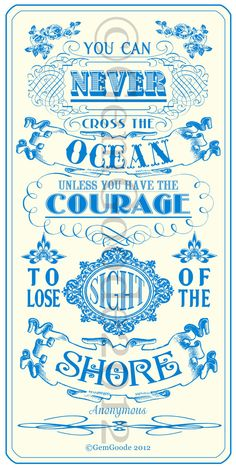 Crossing the ocean quote Poster art by gemgoode