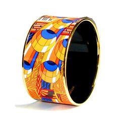 HERMES, bracelet émaillé et plaqué or