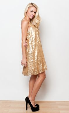 LUCCA COUTURE - GOLD SEQUIN DRESS Gold Sequin Dress 910066347