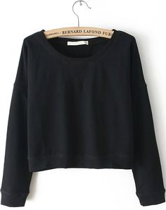 Black Round Neck Long Sleeve Crop Sweatshirt - Sheinside.com