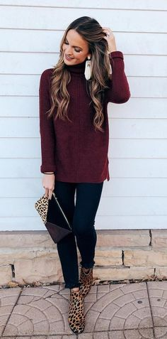 A big slouchy sweater, leopard boots and statement earrings! Casual holiday party style.