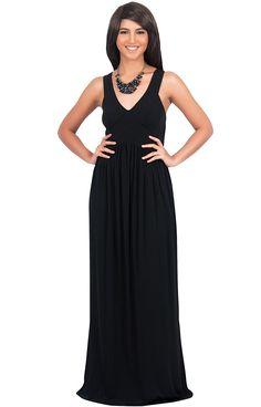 3348d308ba8 KOH KOH Womens Long Sleeveless V Neck Summer Sexy Sun Dress Gown Maxi Dress    Remarkable