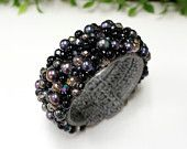 Freshwater pearl bangle with crystal bead on wax cotton thread - free shipping