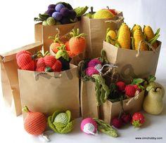 frutas y verduras de punto, alimentos, juguetes de punto en forma de frutas y hortalizas, verduras frutas Descripción de crochet, una clase magistral sobre las frutas y verduras que hacen punto