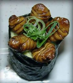 "Because sushi can bring a whole new meaning to calling food ""grub"". Weird Food, Scary Food, Edible Insects, Exotic Food, World Recipes, Vintage Recipes, Food Photo, Sushi, Good Food"