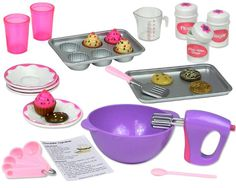 """18 Inch Doll Baking Set of 20 Pcs. fits American Girl Doll Furniture, 18"""" Doll Cookware Set:Amazon:Toys & Games"""