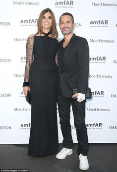 They're in fashion:Carine Roitfeld also met up with Marc Jacobs who styled out a bandaged...