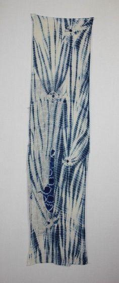 Japanese Antique Indigo Dye Shirakage Shibori Cotton Patched Sashiko Stitch Rag   eBay