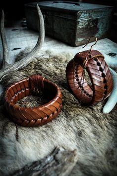 Leather Serpentine Hoop Earrings by ghostriverart on Etsy