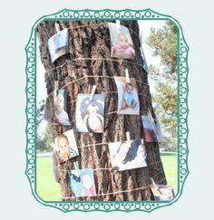Leuk voor een tuinfeest. Foto's van de jarige erop of tijdens een familiefeest allerlei foto's erop. Bevestigen met touw en  knijpers