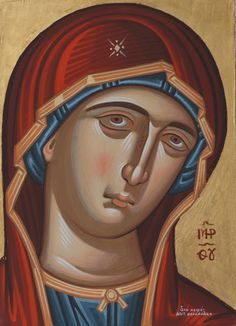 Icon of the Holy Mother- Byzantine Icon of Panaghia by Antonis Theodorakis