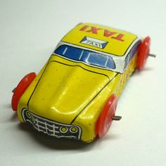 LITTLE TIN TAXI 1960s Vintage Made in by cOveTableCuriOsitIEs, $7.95