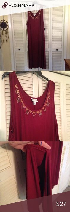 Boho Plus size Maxi Dress Maroon Boho Style Maxi dress. A true 3x. Tank style and super stretchy. Feels like a soft but quality Tshirt. 95% Rayon 5% Spandex. 56 inches Lind with side slit on each side. Not a huge side slit. Aztec design on neckline. Pair with a tan or cream Kimono and gladiator sandals for a trendy look or wear alone with some long earrings for a comfy weekend look. Versatile. ❌PRICE FIRM❌ Ava&Viv Dresses Maxi