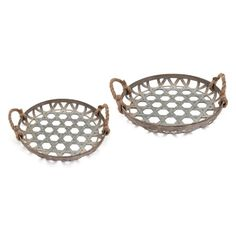 Keep your clutter contained by displaying it inside the IMAX Kirsten Galvanized Baskets - Set of 2 . This pair of metal baskets are completed with rope. Wood Basket, Metal Baskets, Baskets On Wall, Fabric Storage Bins, Fabric Bins, Corrugated Metal, Galvanized Metal, Metal Wall Decor, Metal Working