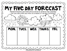A Cupcake for the Teacher: Whimsical Weather {Craftivities, Printables, & More!}could modify for prek by using pictures Teaching Weather, Preschool Weather, Weather Science, Weather Unit, Weather Crafts, Weather Kindergarten, Weather Activities For Kids, Weather For Kids, Weather Graph