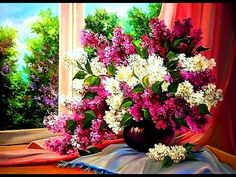 Paint lilac with a palette knife fast & easy. Flowers oil painting tutorial Flowers painting acrylic - YouTube